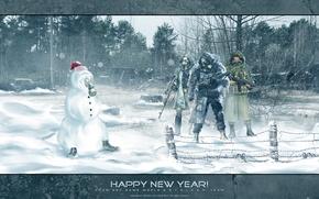 Картинка снеговик, оружие, снег, новый год, лес, сталкер, зона, Stalker