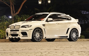 Картинка BMW, light, white, Hamann, X6M, night, street