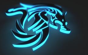 Обои дракон, графика, неон, dragon