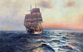 Картинка море, небо, пейзаж, корабль, картина, паруса, Alfred Jansen
