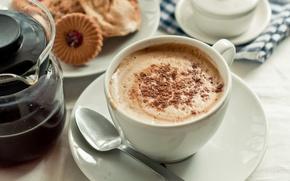 Обои кофе, сливки, чашка, блюдце