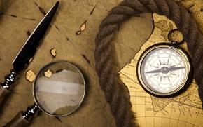 Картинка карта, лупа, компас, верёвка, стилет