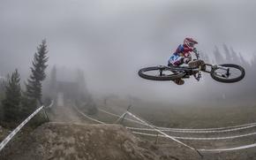 Картинка велосипед, туман, гонка, спорт
