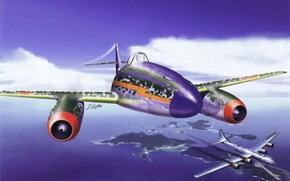 Картинка небо, война, Япония, истребитель, Boeing, прототип, бомбардировщик, Fire Dragon, Арт, Superfortress, американский, реактивный, налёт, японский, …