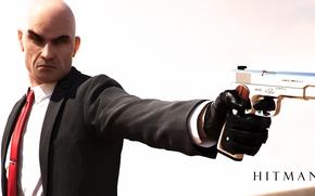 Картинка пистолет, оружие, лысый, Hitman, Агент 47, Хитмэн, Agent