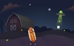 Картинка небо, звезды, НЛО, светлячок, похищение, sky, stars, ферма, хот-дог, Steam, зефир, farm, UFO, Firefly, Стим, …