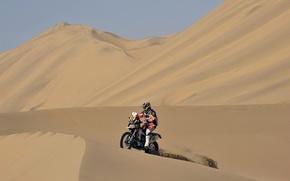 Картинка Небо, Песок, Спорт, Пустыня, Мотоцикл, Мото, Жара, Dakar, Дюна