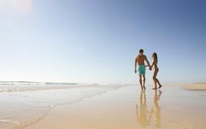 Картинка пляж, радость, океан, берег, двое, моменты жизни