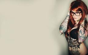 Картинка стройная, красивая, Рыжая, татуировки, ололо