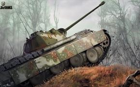 Обои камуфляж, лес, PzKpfw V Panther, танк, рисунок, World of Tanks, средний, немецкий, Пантера, арт, Nikita ...