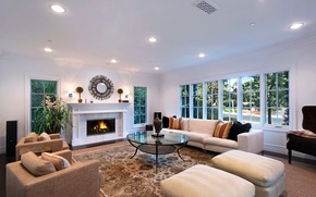 Картинка дизайн, диван, вилла, интерьер, окно, камин, гостиная