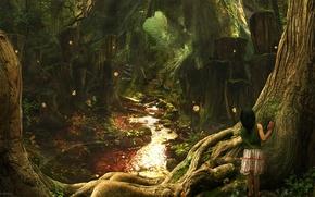 Обои девочка, лес, тропа