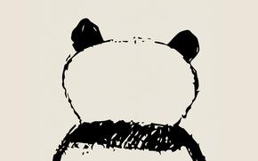 Картинка белое, зад, минимализм, черное, мишка, панда