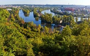 Картинка деревья, пейзаж, река, дома, Прага, Чехия, панорама