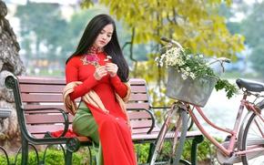 Картинка лето, девушка, цветы, скамейка, велосипед, сидит, восточная