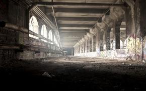 Обои свет, трубы, мусор, граффити, провода, окна, заброшенный, тоннель