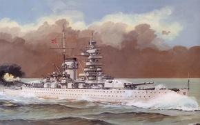 Картинка корабль, арт, флот, военный, линкор, немецкий, WW2, Admiral Scheer, карманный, Kriegsmarine, pocket battleship