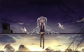Обои hatsune miku, арт, raindsan, микрофон, аниме, птицы, девушка, rain, солнце, небо, vocaloid, облака, закат