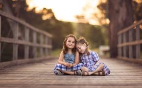 Картинка мост, фон, девочки
