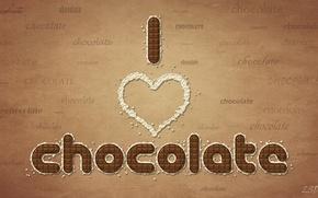 Обои шоколад, слова, chocolate, I love chocolate