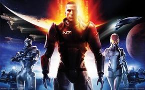 Картинка планеты, корабли, солдаты, soldiers, Шепард, game wallpapers, N 7, Shepard, Mass effect