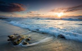 Обои море, волны, вечер, прибой, небо, берег, пейзаж