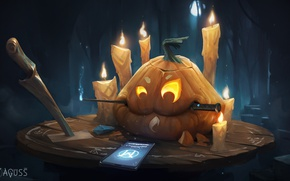 Обои ножи, тыква, Halloween, Хэллоуин, телефон, арт, свечи, праздник