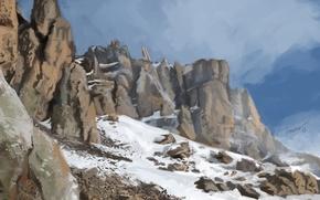 Картинка холод, снег, арт, горы, скалы, камни