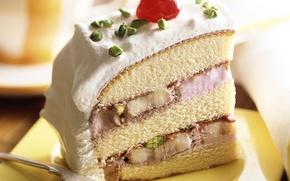 Обои вишенка, торт, еда