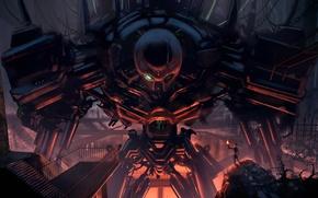 Картинка металл, провода, человек, робот, арт, ангар, факел, гигантский, Loyvet Pierre