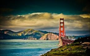 Обои дорога, небо, мост, горы, облака