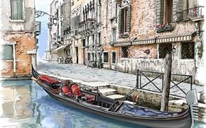 Картинка город, улица, дома, живопись, гондола, венеция