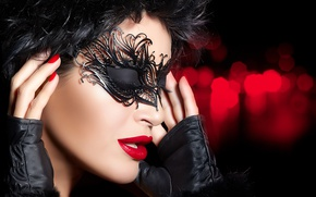 Обои brunette, mask, eyes closed