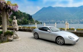 Картинка море, горы, Maserati, статуя, мазерати, GS Zagato