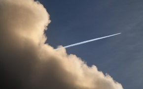 Обои облако, след, самолёт