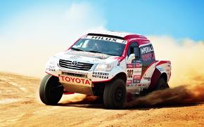 Картинка Авто, Спорт, Машина, Скорость, День, Toyota, Rally, Dakar, Внедорожник, Ралли, Передок