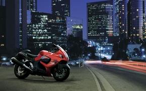 Обои дорога, город, мотоцикл, Suzuki, Hayabusa, GSX 1300 R