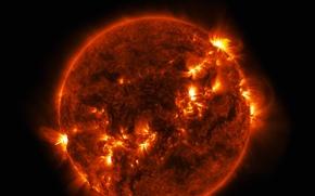 Картинка солнце, звезда, вспышка, выброс, протуберанец