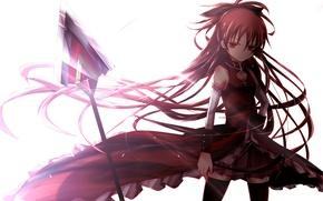 Картинка девушка, оружие, аниме, арт, бант, mahou shoujo madoka magica, sakura kyouko, девочка-волшебница мадока, kiriya black
