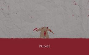 Картинка красный, кровь, минимализм, герой, Defense of the Ancients, мясник, butcher, DotA 2, Pudge, Пудж