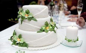 Картинка торт, свадьба, декор, праздиник, шампанское в бокале