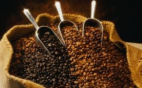 Обои зерна, аромат, кофе, мешок, 2122х1663