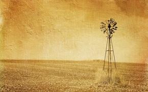 Картинка стиль, поле, ветряк, фон