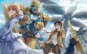 Картинка девушка, аниме, роботы, арт, парни, aldnoah.zero, kaizuka inaho, asseylum vers allusia, slaine troyard, d.b.spark