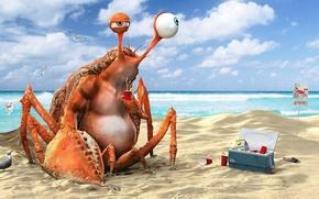 Картинка пляж, вода, океан, краб, напиток, лимонад, funny, 3D Art