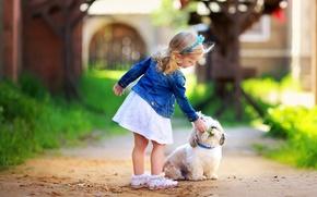 Картинка зелень, трава, листья, деревья, цветы, природа, дети, фон, дерево, widescreen, обои, настроения, листва, собака, размытие, …