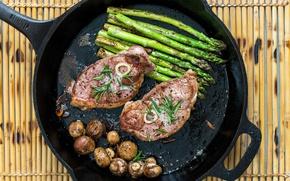 Картинка грибы, мясо, сковородка, спаржа