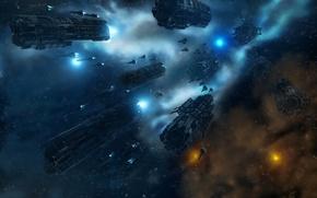 Обои флот, корабли, боевые, армада, космос, звезды