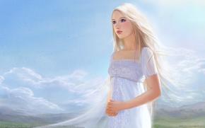 Картинка небо, девушка, платье