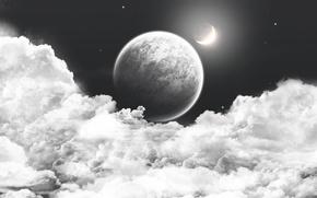 Обои облака, небо, космос, cosmos, пейзаж